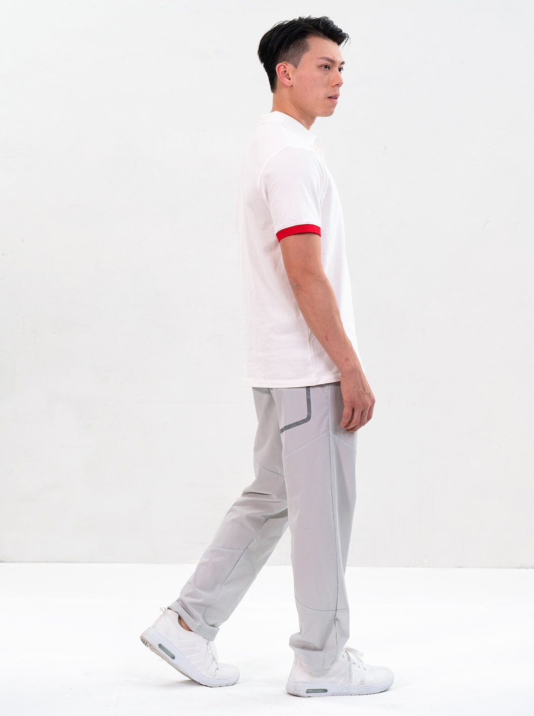 DW Knitted Polo Tee (Blanc de Blanc)  + Stretchy Light Pants (Northern Droplet) Set